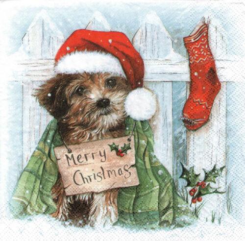 4 lose Servietten Kleiner Hund mit Weihnachtsmütze Zaun Merry Christmas
