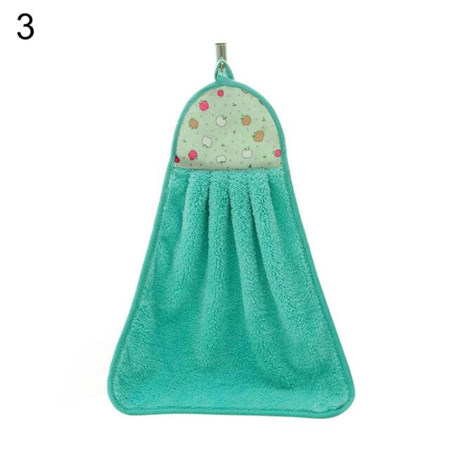 Cy/_ KF/_ Bathroom Kitchen Absorption Hand Soft Plush Hanging Wipe Bathing Towel F