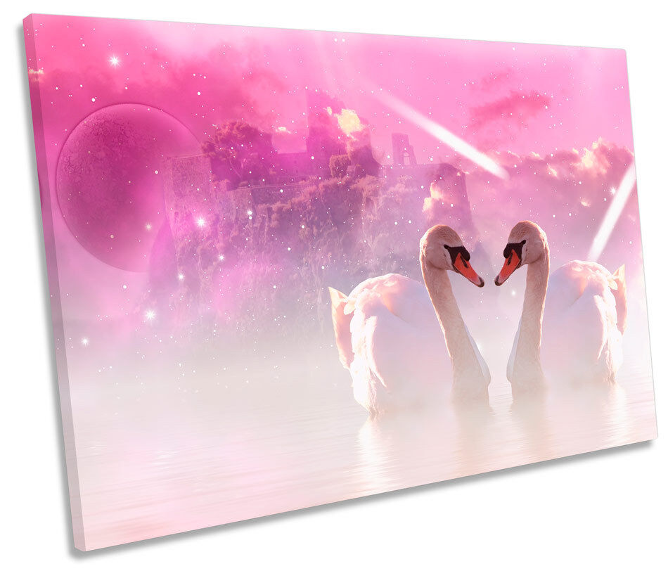 Romantic Swans Castle SINGLE CANVAS WALL ART Picture Print