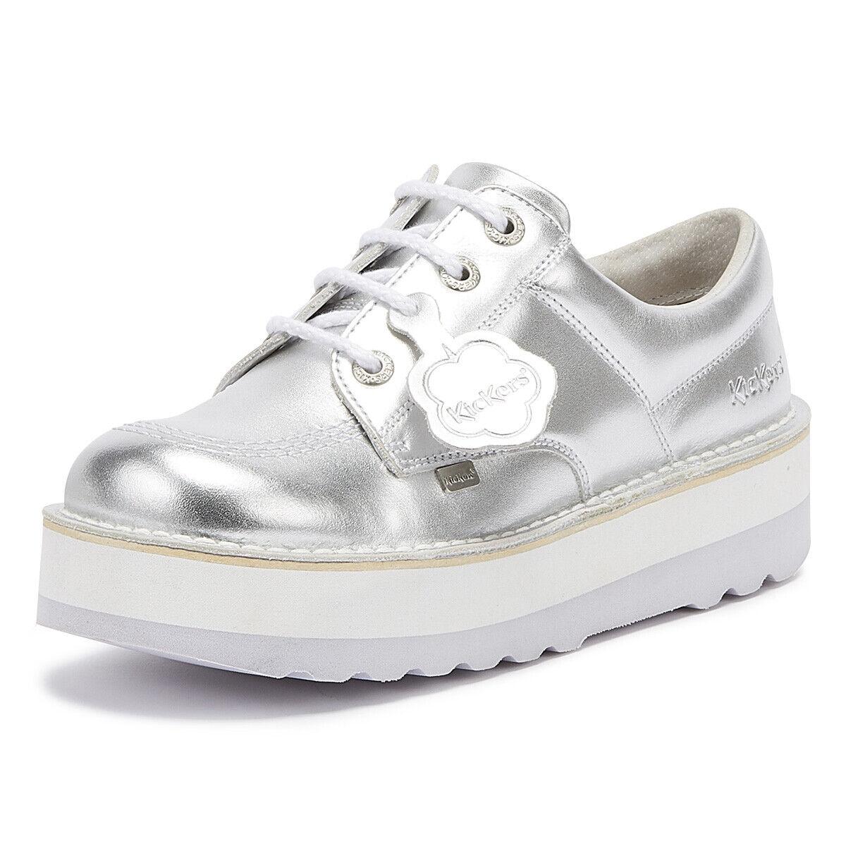 Kickers Kick Lo Stack mujer Metallic   plata zapatos Lace Up Leather Platforms