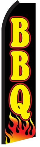 BBQ Black Barbecue Barbeque Food Flag Tall CurvedFeather Bow Swooper Banner Sign
