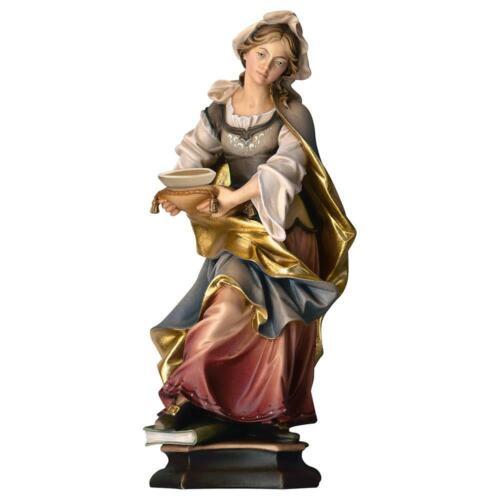 Heiligenfigur 25cm Color Ursula con Köln mit Schiff Design Echtholz Hl 9549