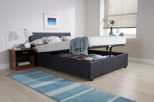 End Lift 5ft King Ottoman faux leather gas lift up storage bed BLACK