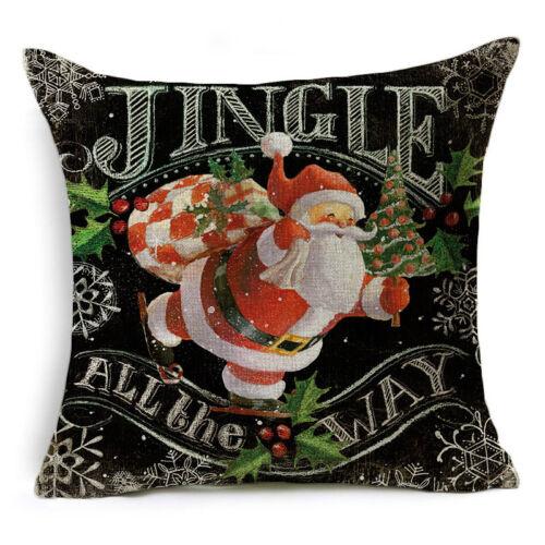 """18/"""" Christmas Pillow Case Cotton Linen Sofa Throw Cushion Cover Home Decor Xmas"""