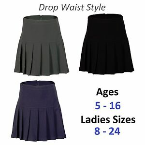 001352ddcc Girls Womens Pleated School Skirt Drop Waist Grey Black Navy Ages 5 ...