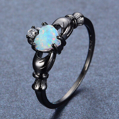 Claddagh Heart Rings Women's White Fire Opal & CZ Band Black Gold Filled Jewelry