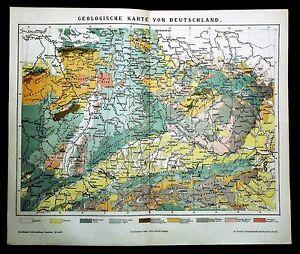 Cartina Geografica Germania Con Cap.1894 Originale Mappa Geografica Colori Carta Geologica Della