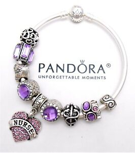 Image Is Loading Authentic Pandora Silver Bangle Charm Bracelet With Purple