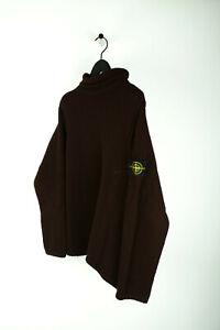 Details zu Original Vintage Stone Island Herren Warme Wolle Pullover Brown Rollkragen