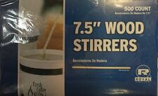 "500 Wooden 7.5"" Wood Coffee Stirrers Rounded Ends Craft Sticks Stir Rods"