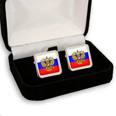 RUSSIA RUSSIAN FLAG COAT OF ARMS MEN'S CUFFLINKS / TIE SLIDE SET GIFT BOX