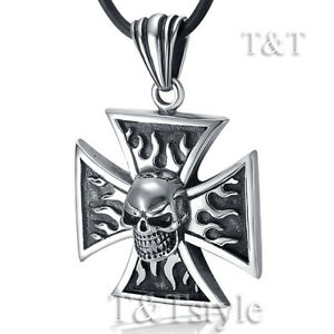 Quality TTstyle 316L S.Steel Skull IRon Cross Pendant Necklace Extra Large