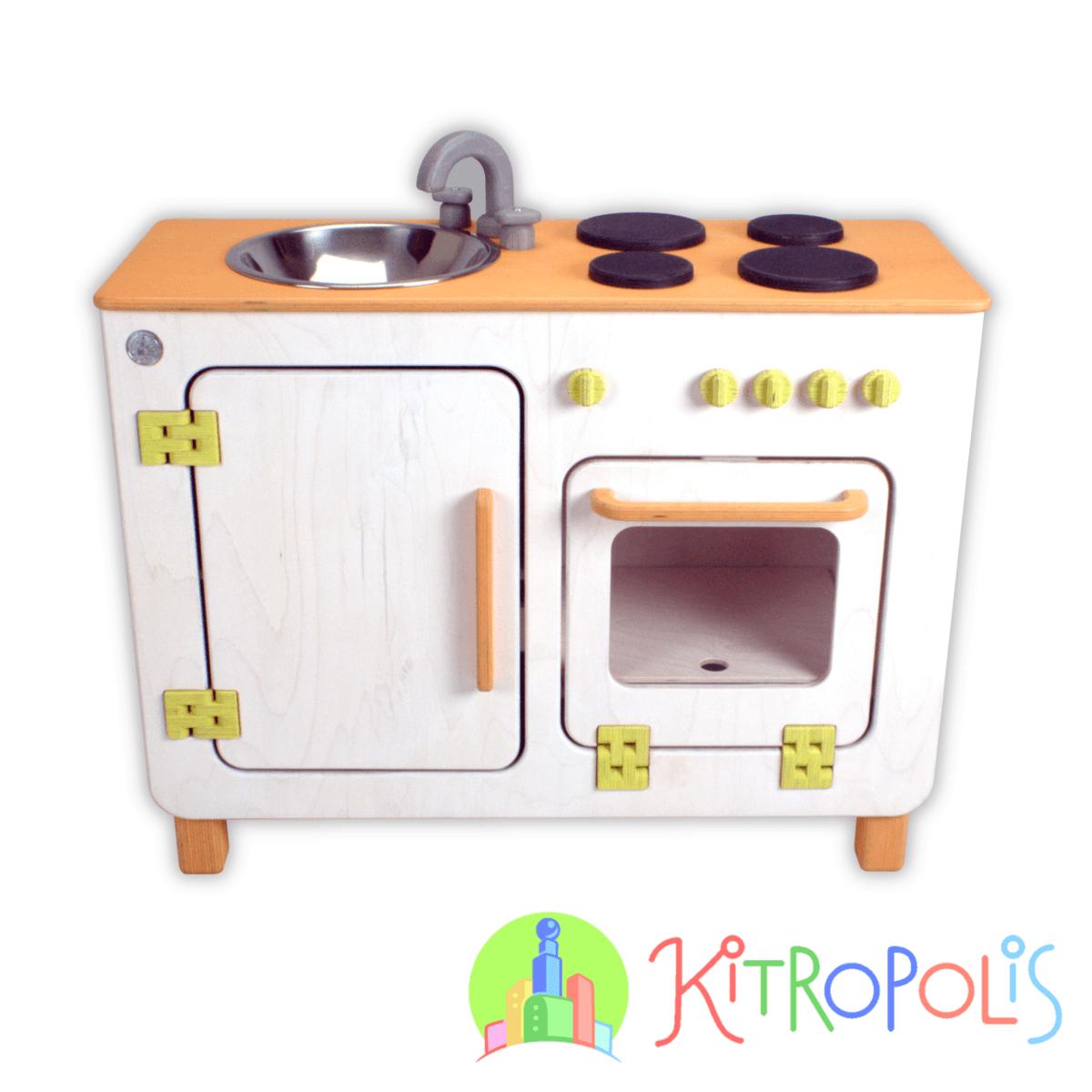 Kitropolis - Daskocht in Orange - Spielküche - Kinderküche aus Holz