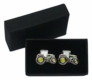 John Deere Green Tractor Cufflinks Gift Boxed Wedding/Farmin<wbr/>g Enamel Shirt Suit