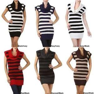 Juniors-Stripe-Cowl-Neck-Slim-Jumper-Knit-Mini-Dress-Tunic-Sweater-Comfy-Top