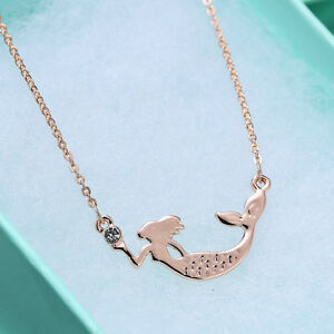 Mermaid-Necklace-Pendants-18K-Rose-Gold-Plated-Gifts-Jewelry-Beautiful-Bijoux