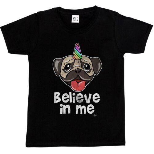 1Tee Kids Girls Believe in Me Pug Unicorn T-Shirt