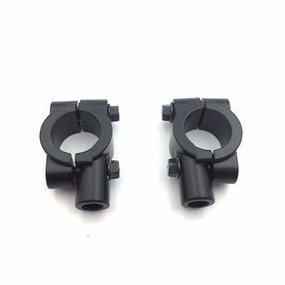 "Black 1/"" 25mm Motorcycle HandleBar 10mm Mirror Thread Mount Holder Clamp Adaptor"