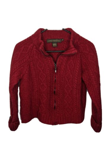 Inis crafts women's XL red full zip sweater