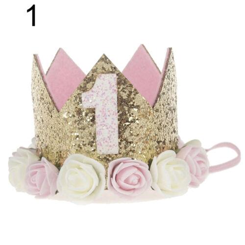 Princess Baby Girl 1st Birthday Flower Crown Party 1/&2 Year Hairband Tiara