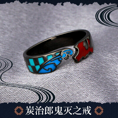 Kamado Tanjirou Ring Demon Slayer Kimetsu no Yaiba Gift S925 Adjustable Size