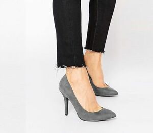 Womens-Ladies-Grey-Suede-Heeled-Court-Dress-Office-Shoe-UK-Size-3-4-5-6-7-8
