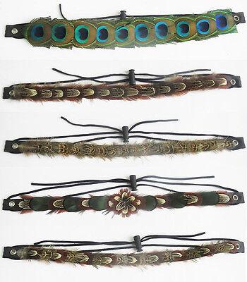 Hippie Indian Feather Headband Headdress Peacock Eyes Tribal Hair Headpieces