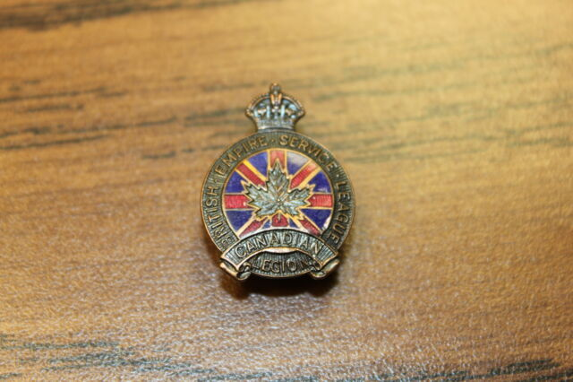 VINTAGE RARE 1927 ROYAL CANADIAN LEGION PIN BRITISH EMPIRE SERVICE #13794