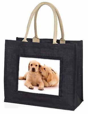 Gelber Labrador Hunde große schwarze Einkaufstasche Weihnachten Geschenkidee,
