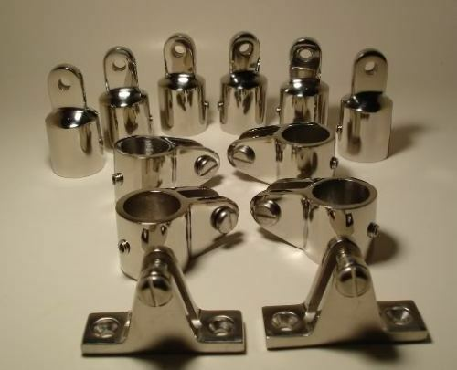 """3 Bow Stainless Steel Fittings Set 7/8"""" Bimini Top Hardwares 12 PCS TOP QUALITY"""