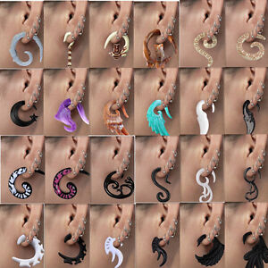 Flesh-Tunnel-Resin-Acrylic-Carved-Ear-Plug-Expander-Spiral-Snail-Gauge-Stretcher