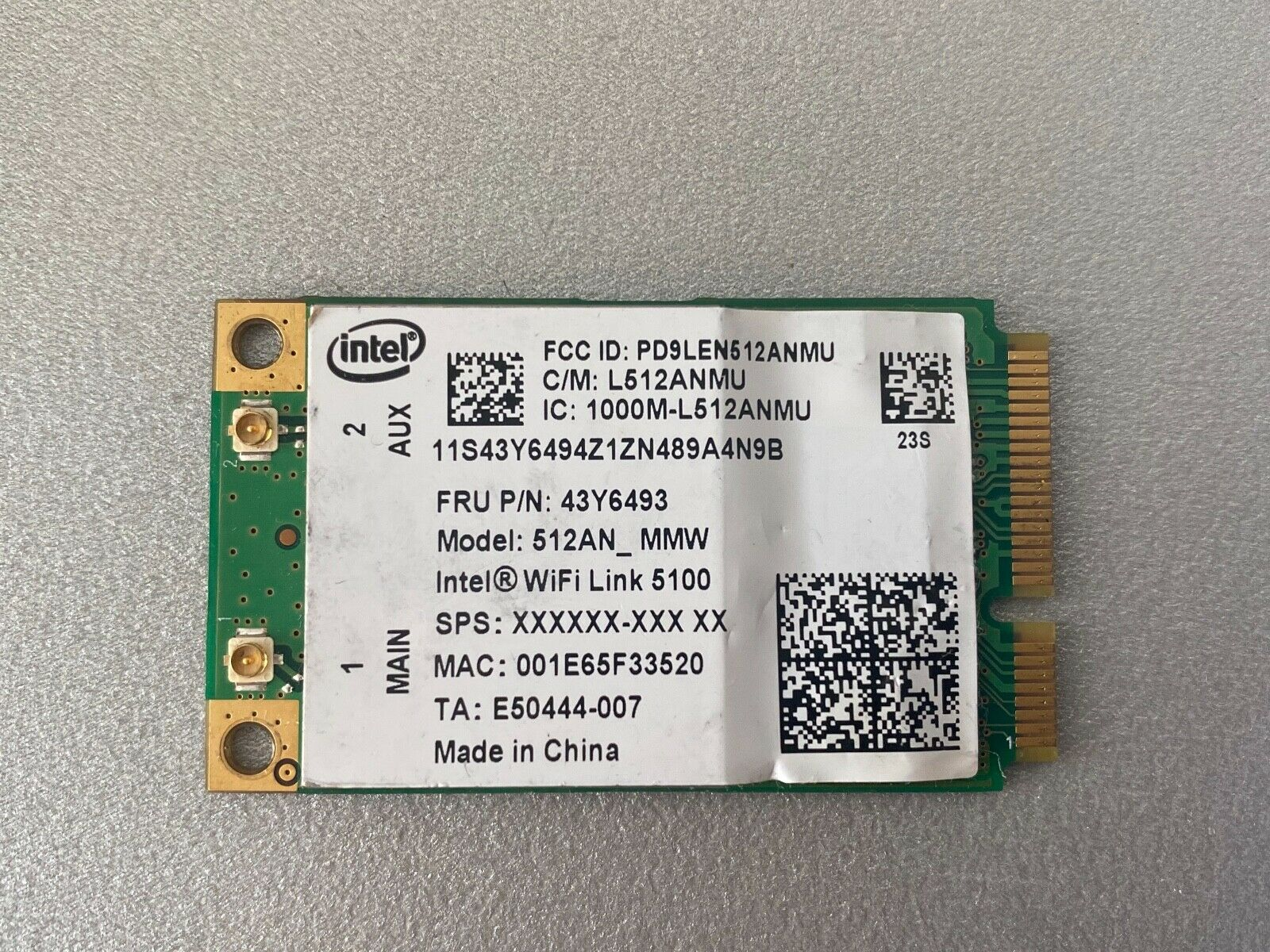 43Y6493 Lenovo Thinkpad R500 R400 T500 T400 W500 W700 X200 WIFI WIRELESS