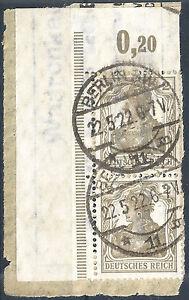 Germania-MiNr-102-im-Paar-vom-Plattenoberrand-aus-Ecke-1-geprueft-gestempelt