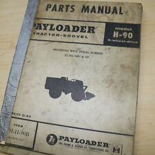 Hough Model H 90 Payloader Front End Wheel Loader Parts Manual Book Catalog 1960
