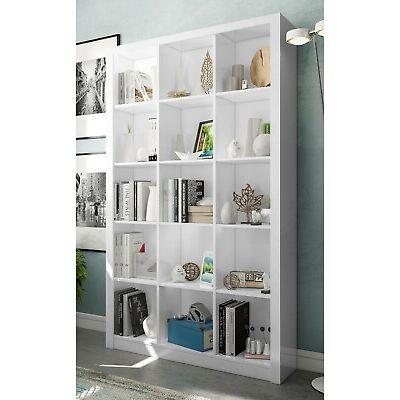 Libreria o estanteria color blanco brillo 15 espacios 195x114x30
