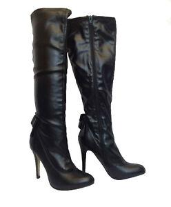 7f559da7dcc6 Ladies Womens Long Black PU Knee Height Boots 4.5