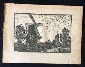 Emma luminari, dall'Olanda (godlinze), taglio di legno, 1922, firmato a mano