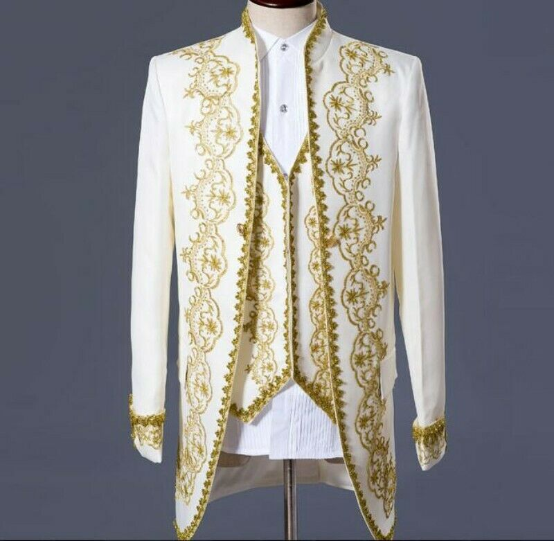 2019 Men's Retro Royal Suits Europe Floral Lace Stand Collar Coats Pants Blazer