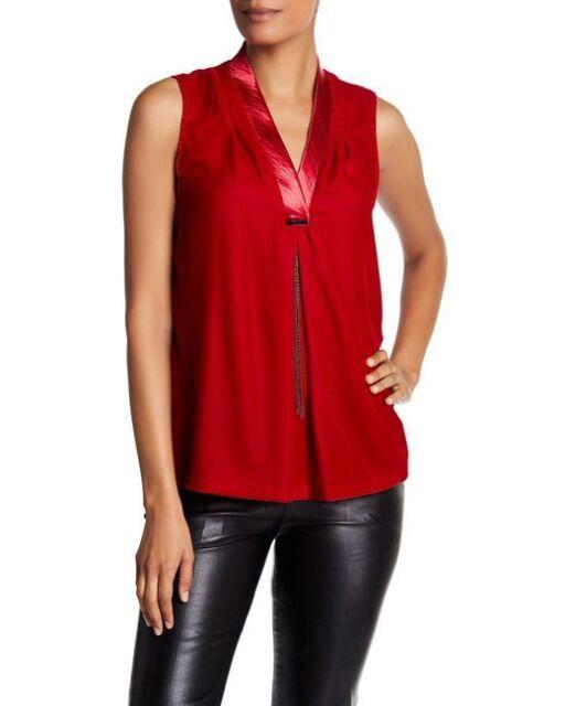 Tahari Women/'s Plus Size Sleeveless Cowl Neck Blouse Black//Royal//Red, 1X