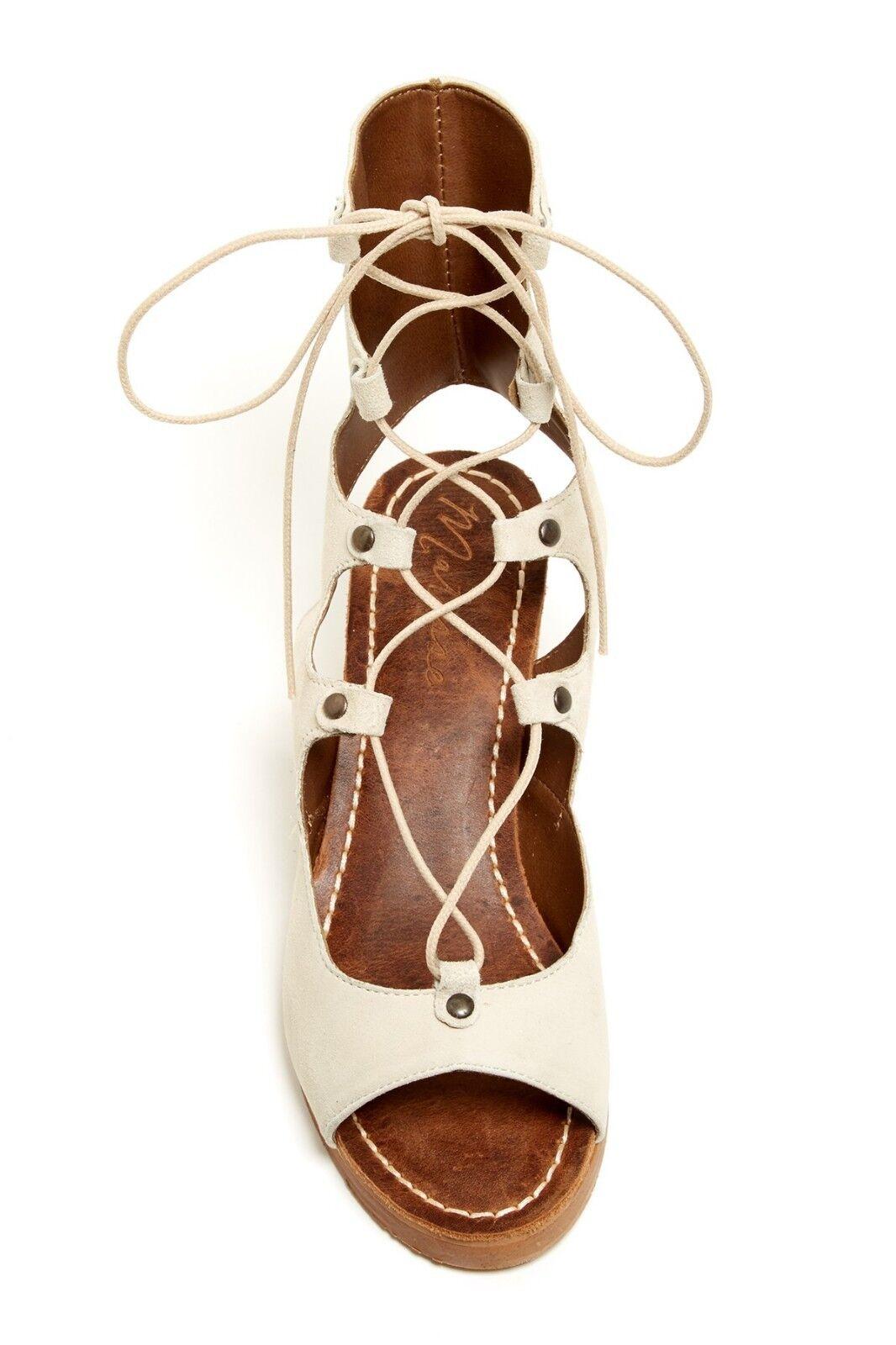 Matisse Expo Suede Lace Up Bootie Sandalen Beige Größe 8 Chunky Stacked Heel