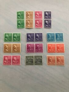 US-Scott-839-851-1939-United-States-Presidential-Coil-Stamp-Pairs-MNH-OG