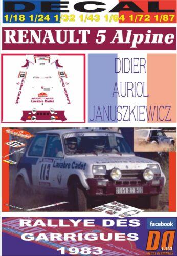 01 DECAL RENAULT 5 ALPINE DIDIER AURIOL RALLY DES GARRIGUES 1983