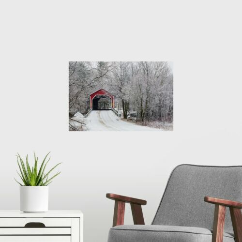 Countryside Home Decor Red Covered Bridge In The Winter; Poster Art Print