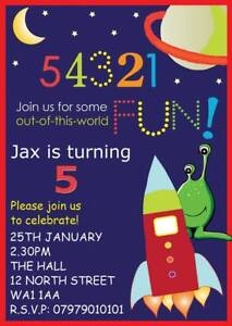 PERSONALISED CHILDRENS ROCKETS SPACE PARTY INVITE BIRTHDAY PARTY