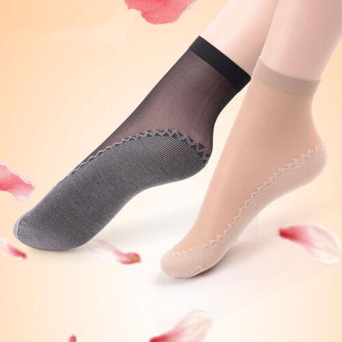 5Pairs Summer Women Lace Short Stocking Anti-Slip Breathable Cotton Bottom Socks