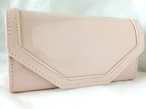 b60bf5b82 NEW FLESH NUDE FAUX PATENT LEATHER EVENING DAY CLUTCH BAG WEDDING ...
