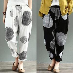 ZANZEA-Femme-Pantalon-Casuel-en-vrac-100-coton-Taille-elastique-Impression-Plus