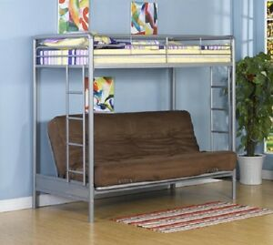 image is loading new twin over full futon sofa metal bunk  new twin over full futon sofa metal bunk bed loft in silver   free      rh   ebay