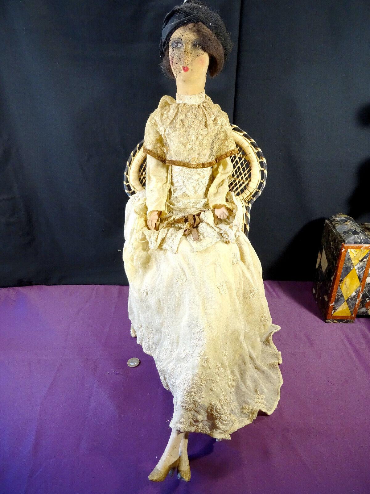 Ancienne grande poupée de salon, boudoir gerb's 79 cm