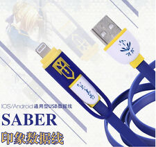 Fate Stay Night Zero Saber Anime Micro USB Data Cable Charger Charging Plug 2in1